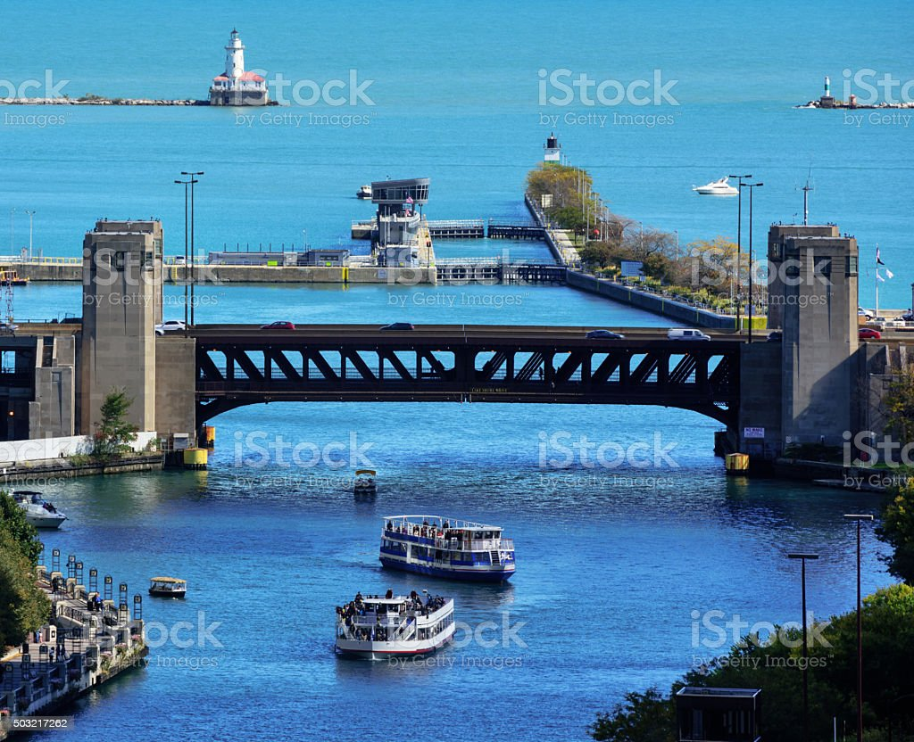 Mouth of the Chicago River stock photo