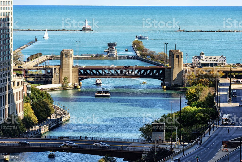 Mouth of the Chicago River with Bridges, Lock and Lighthouse stock photo