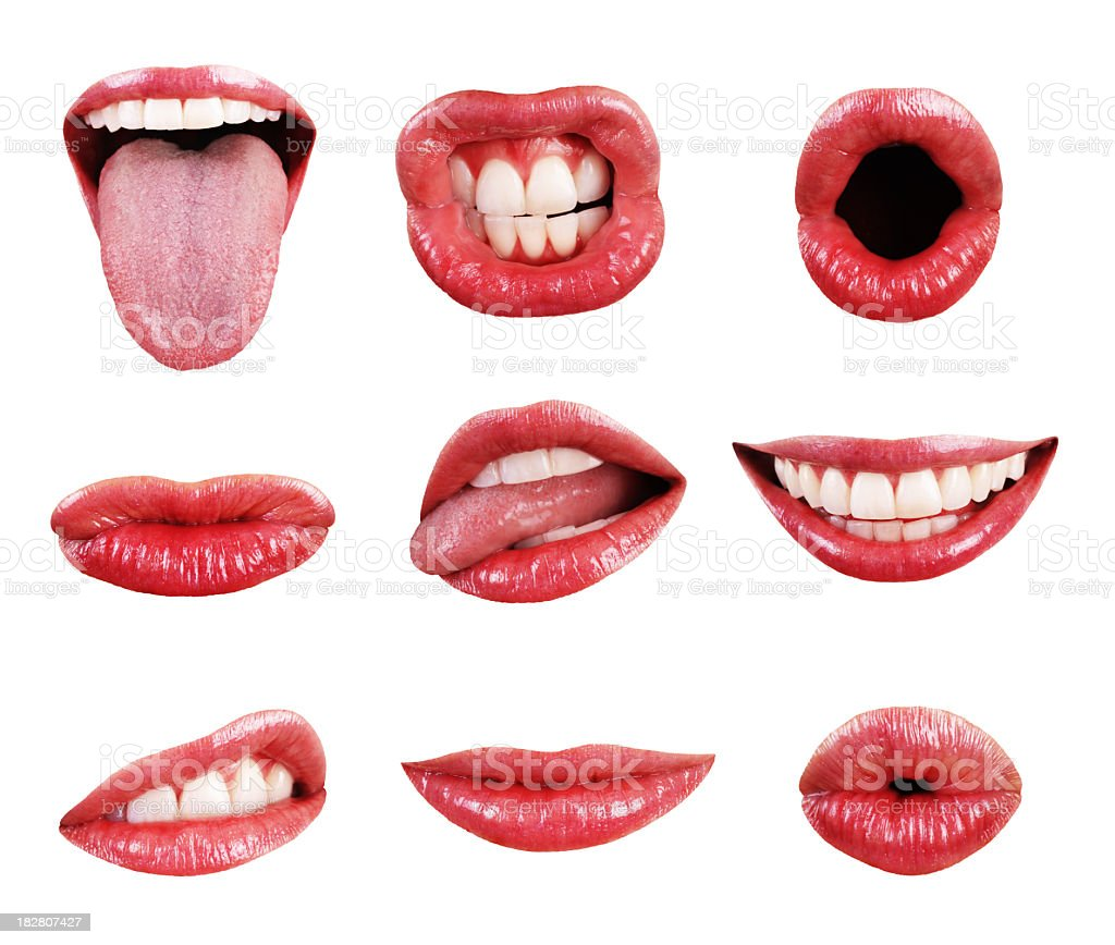 Mouth, Teeth, Lips, and Tongue Page Elements Isolated Collection Assortment stock photo