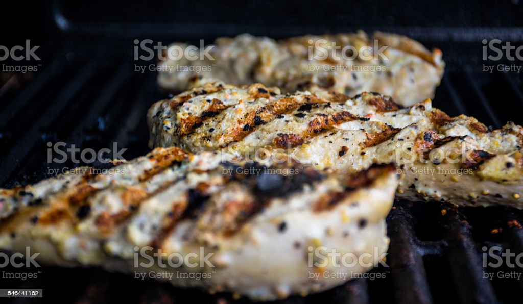 Mouth Watering Grilled Chicken on the Grill stock photo