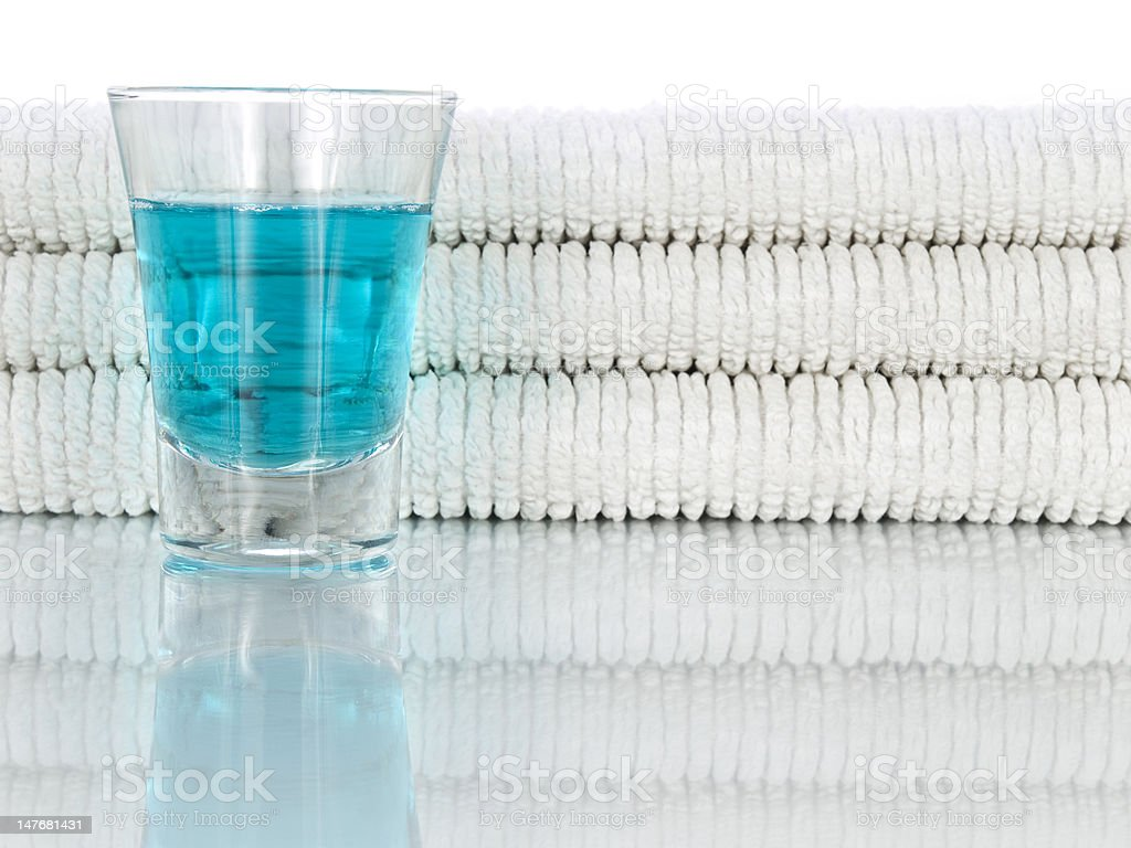 Mouthwash and towels stock photo