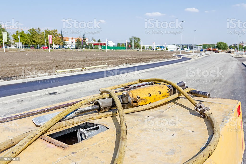Movable compressor for handheld jackhammer stock photo