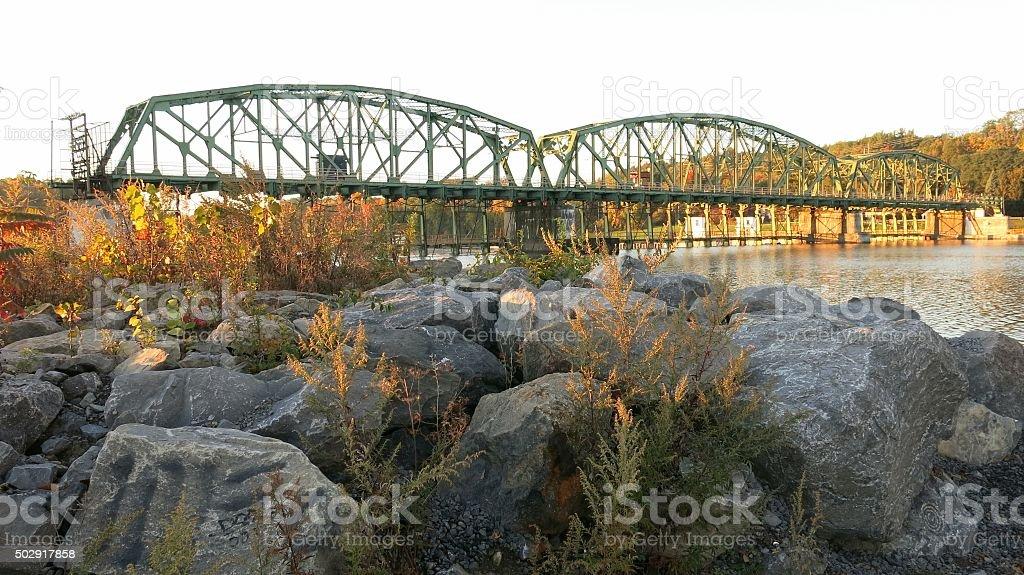 Movable Dam Bridge, Erie Canal Lock 8, Mohawk River, NY stock photo