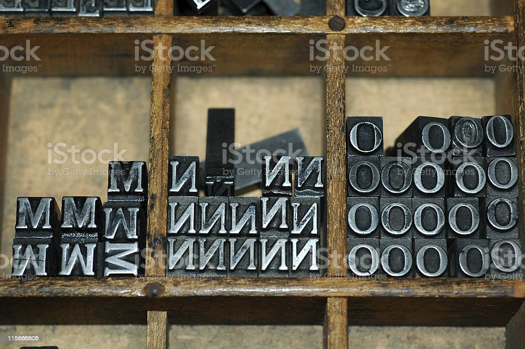 movable type M N O stock photo