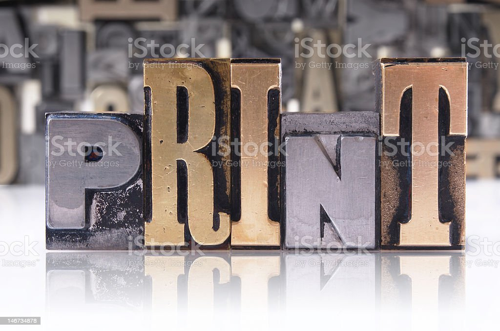 PRINT movable type stock photo