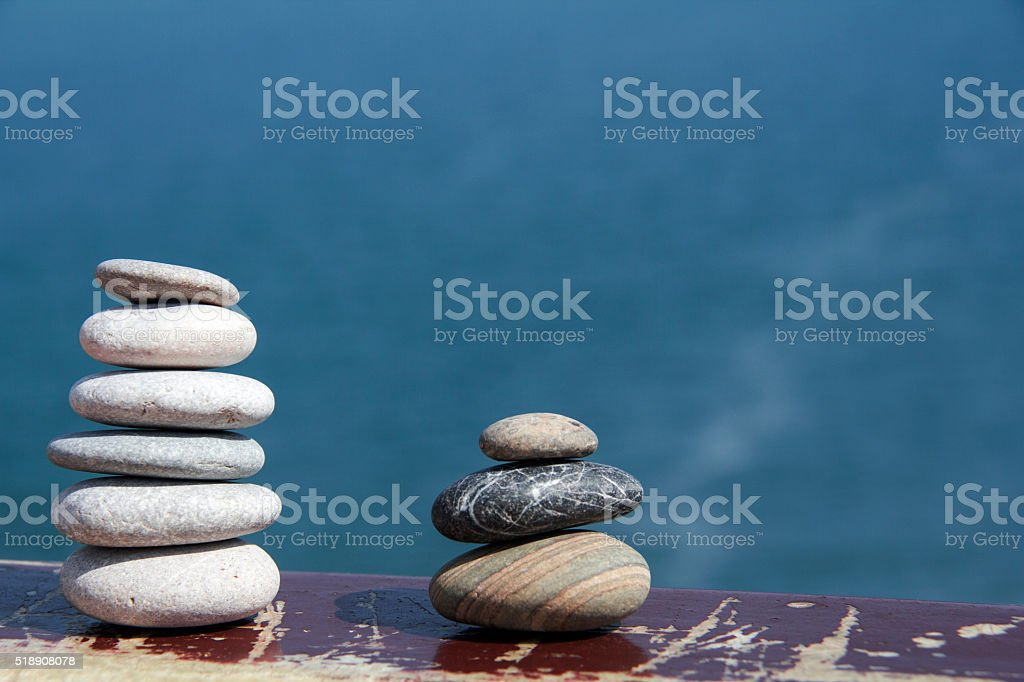 move two sea stack in balance stock photo