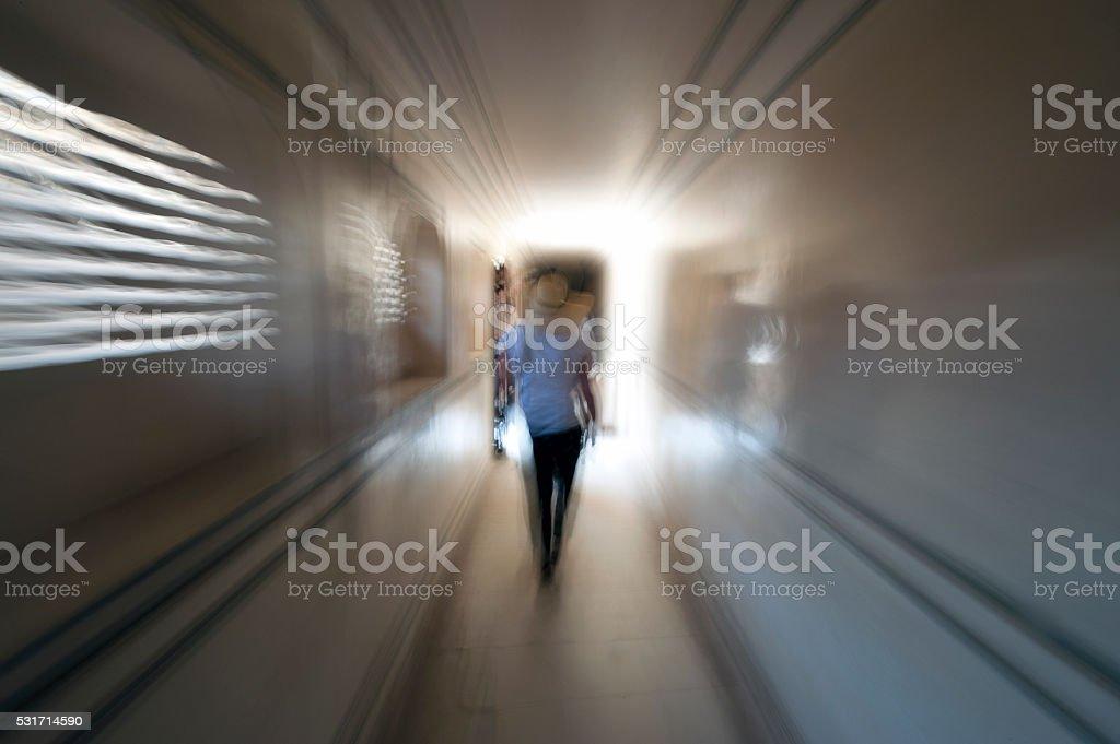 Movement in a corridor stock photo