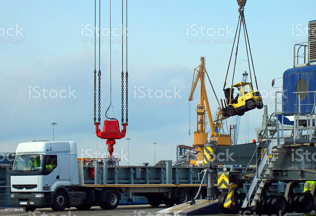 Movement in a port stock photo