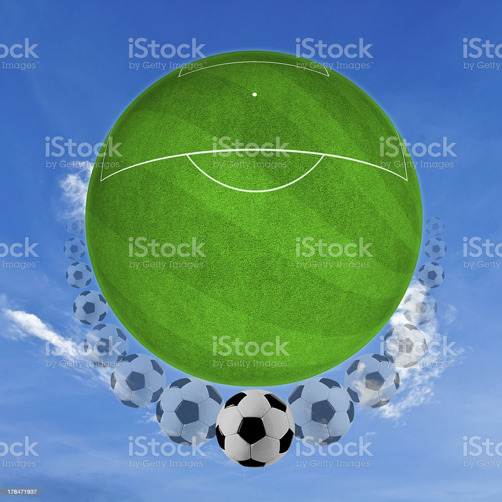 movement of ball on the grass. stock photo
