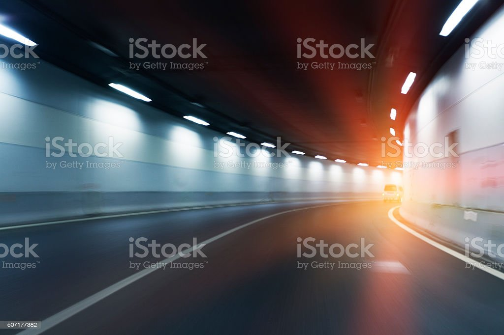 Movement of Highway Tunnel stock photo