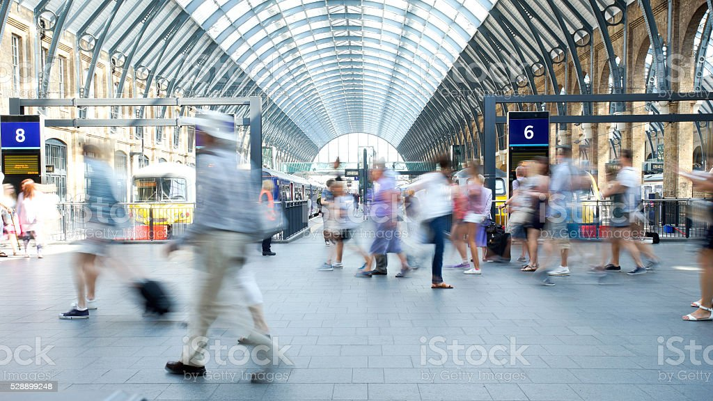 Movement of people in rush hour, london train station stock photo