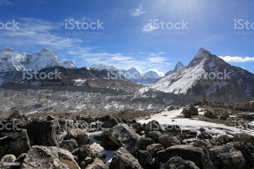 Movement of the clouds on the mountains Himalayas stock photo