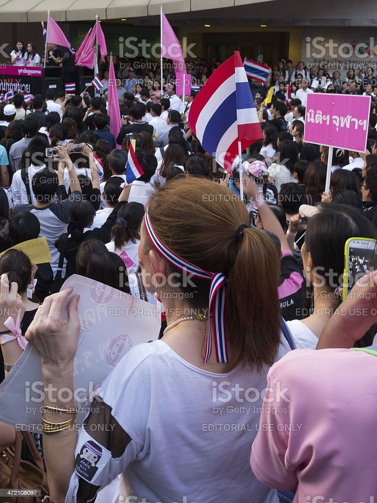 Movement to against amnesty laws in Thailand. stock photo