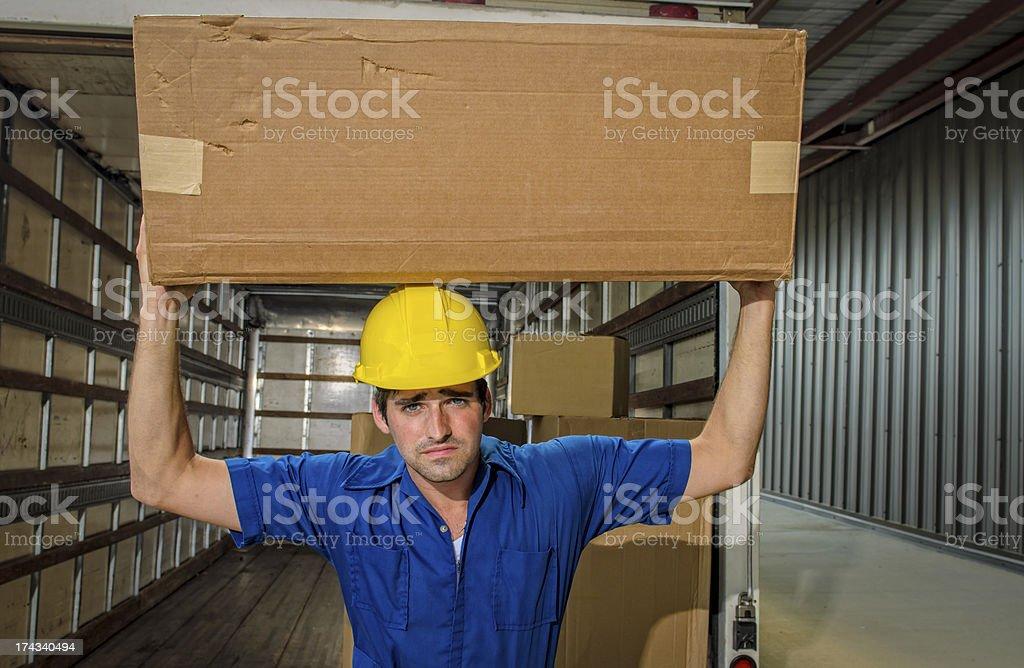 Mover Balancing Box on Head royalty-free stock photo