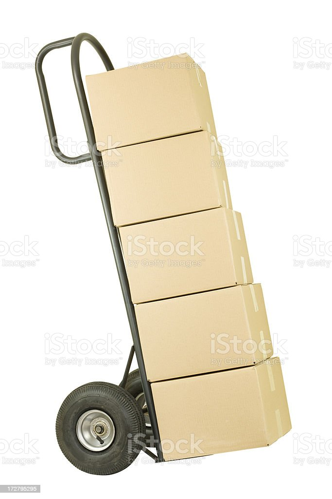 Movers Dolly with a Stack of Boxes stock photo