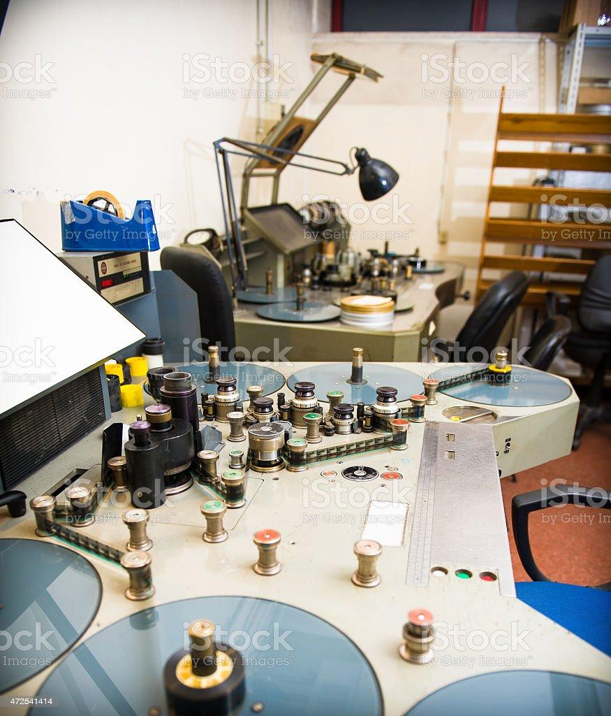 Movie analog editing machine for 35 mm films studio stock photo