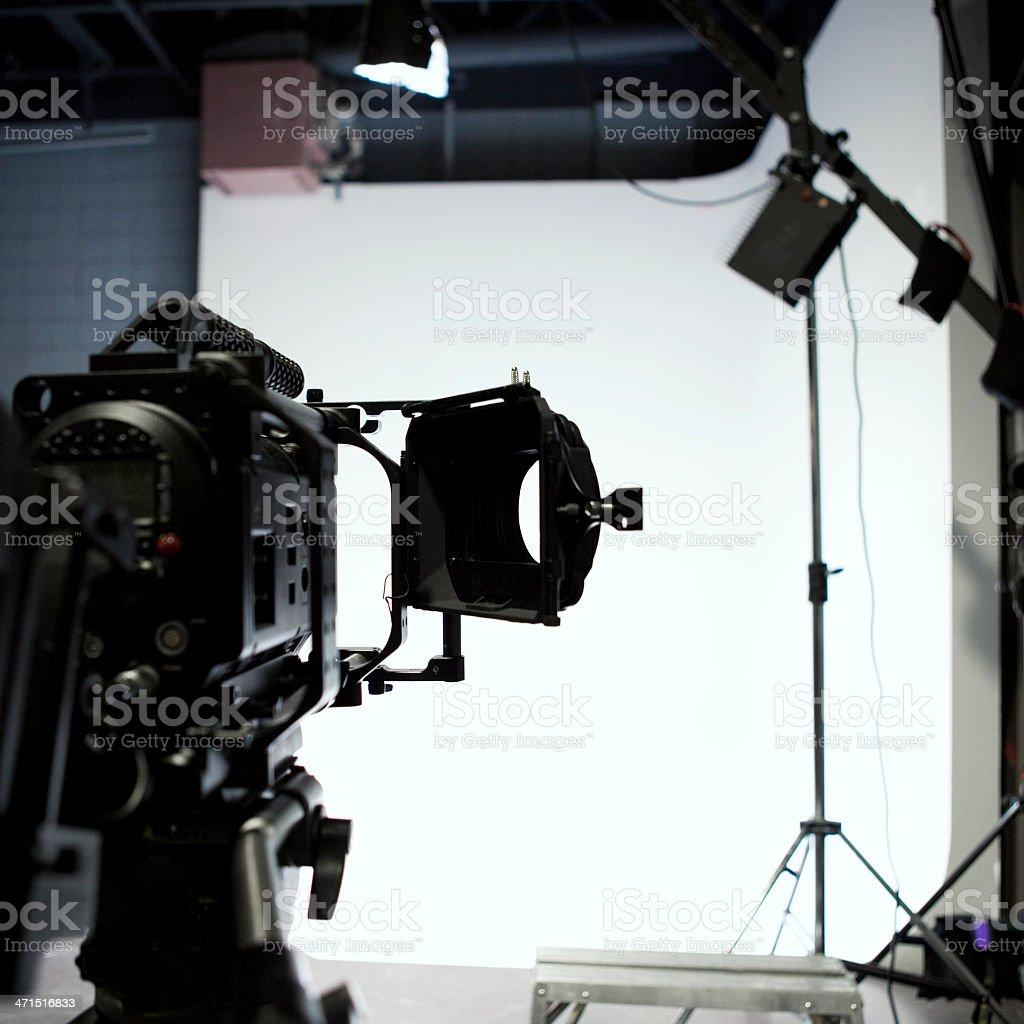 Movie Camera on Film Set royalty-free stock photo