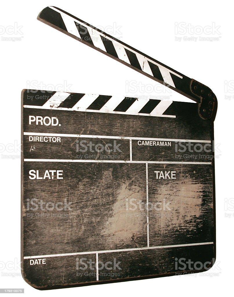 Movie clapper board on white background stock photo