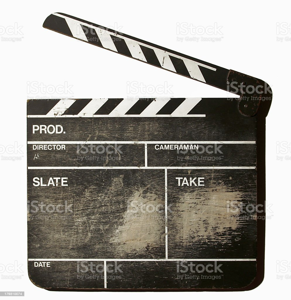 movie clapper board stock photo