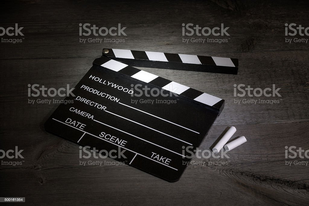 Movie clapper on boards cinematography abstract sign stock photo