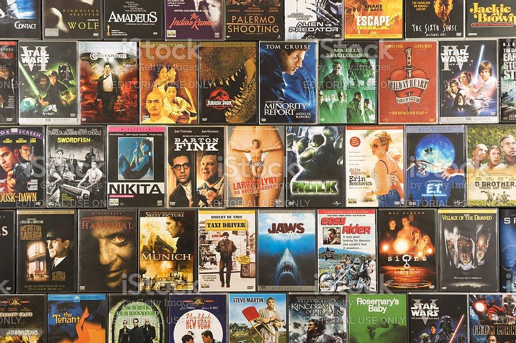 DVD movie collection, studio shot stock photo