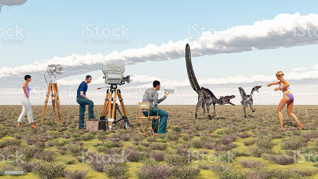Movie crew and the dinosaur Velociraptor stock photo