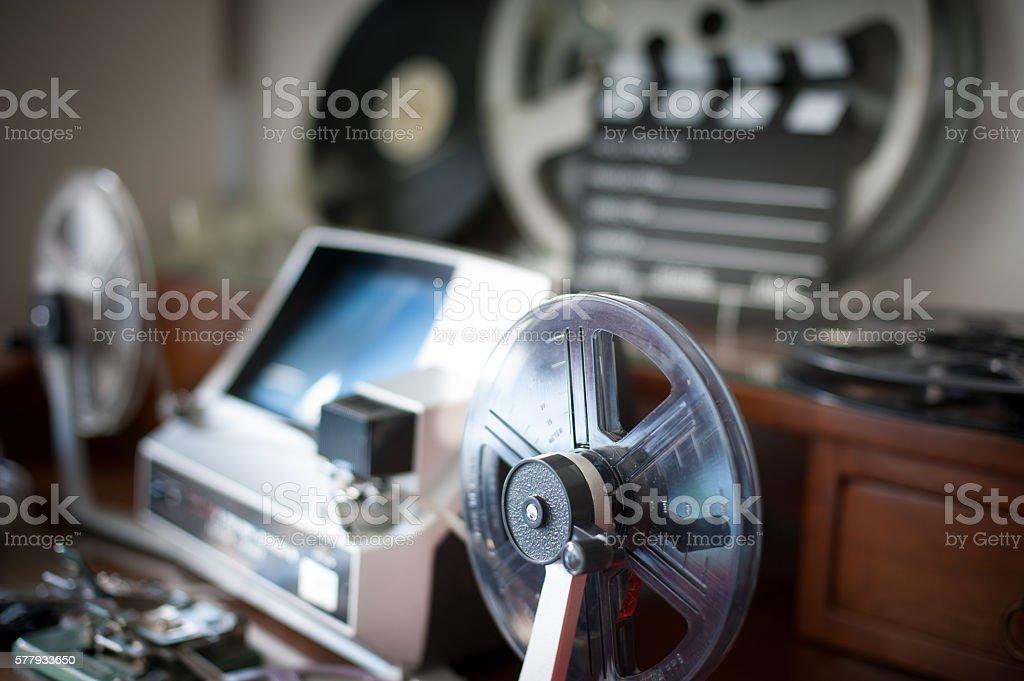 Movie editing vintage desktop detail stock photo