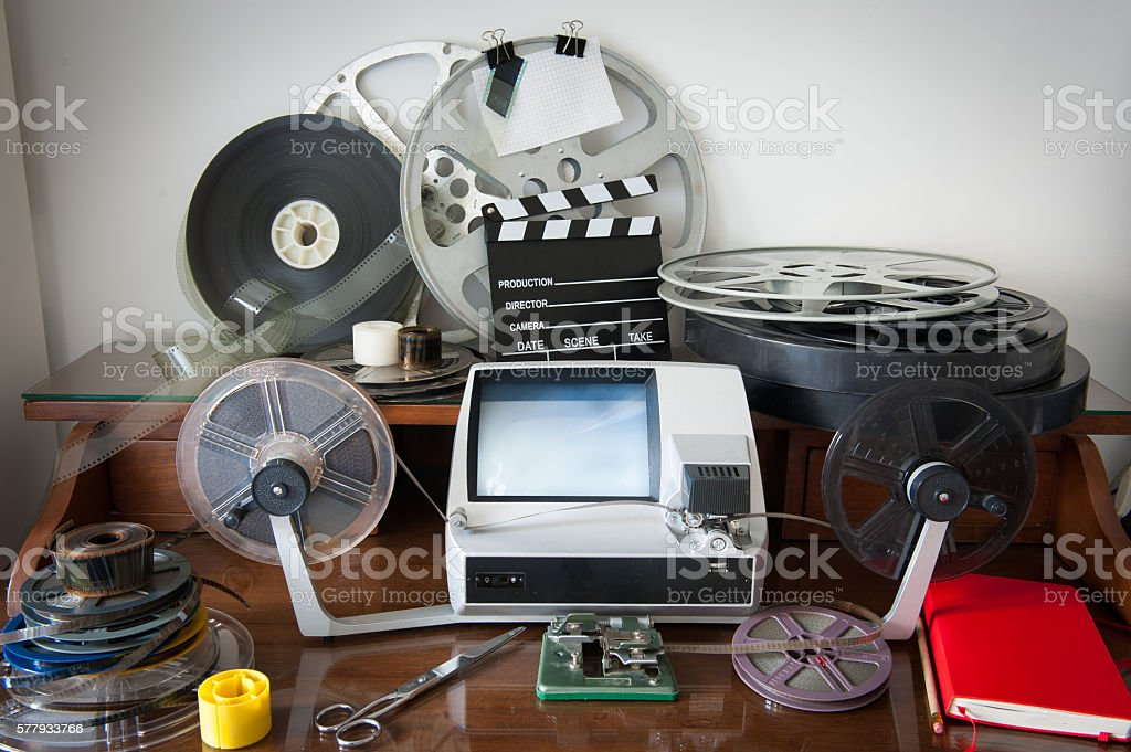 Movie editing vintage desktop stock photo