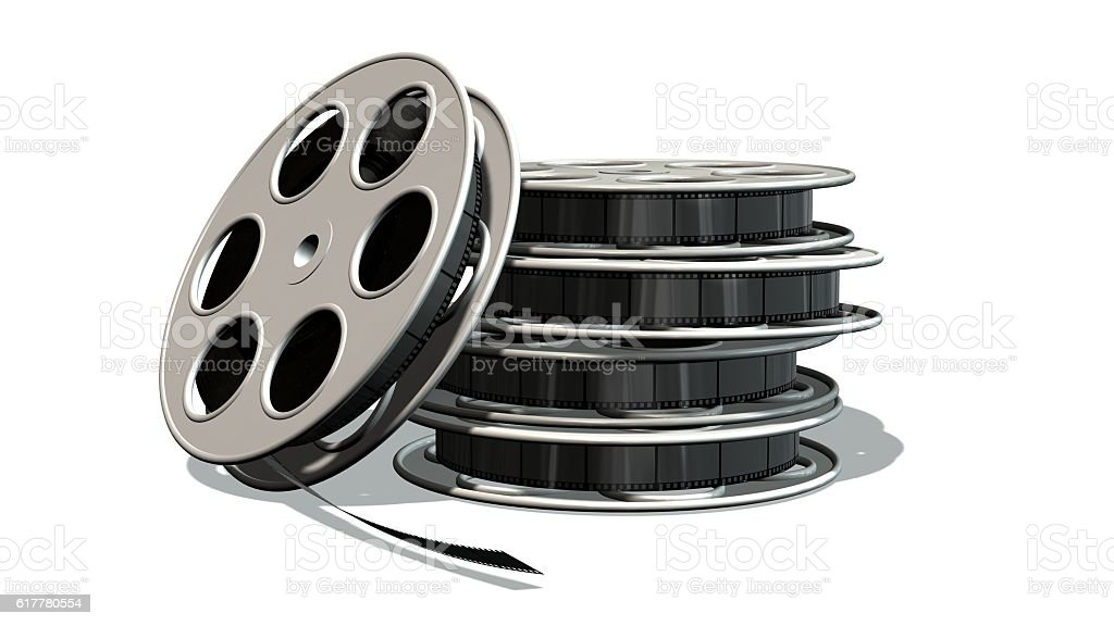 movie film reels isolated on white stock photo