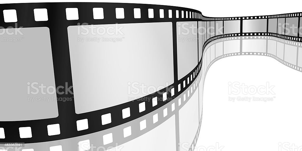 Movie film with blank frames on white stock photo