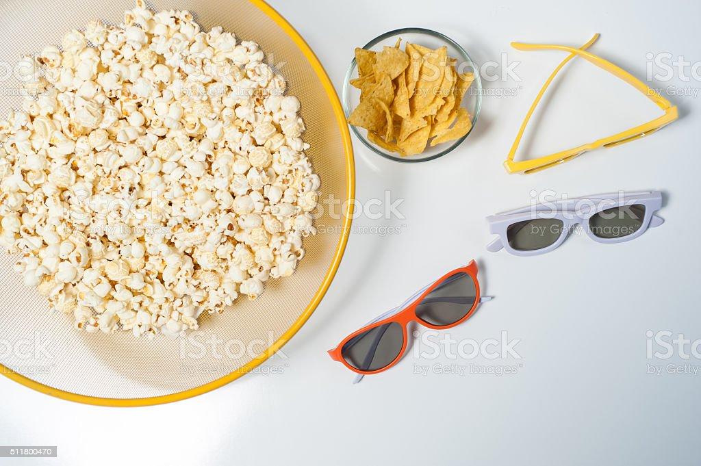 Movie night essentials stock photo