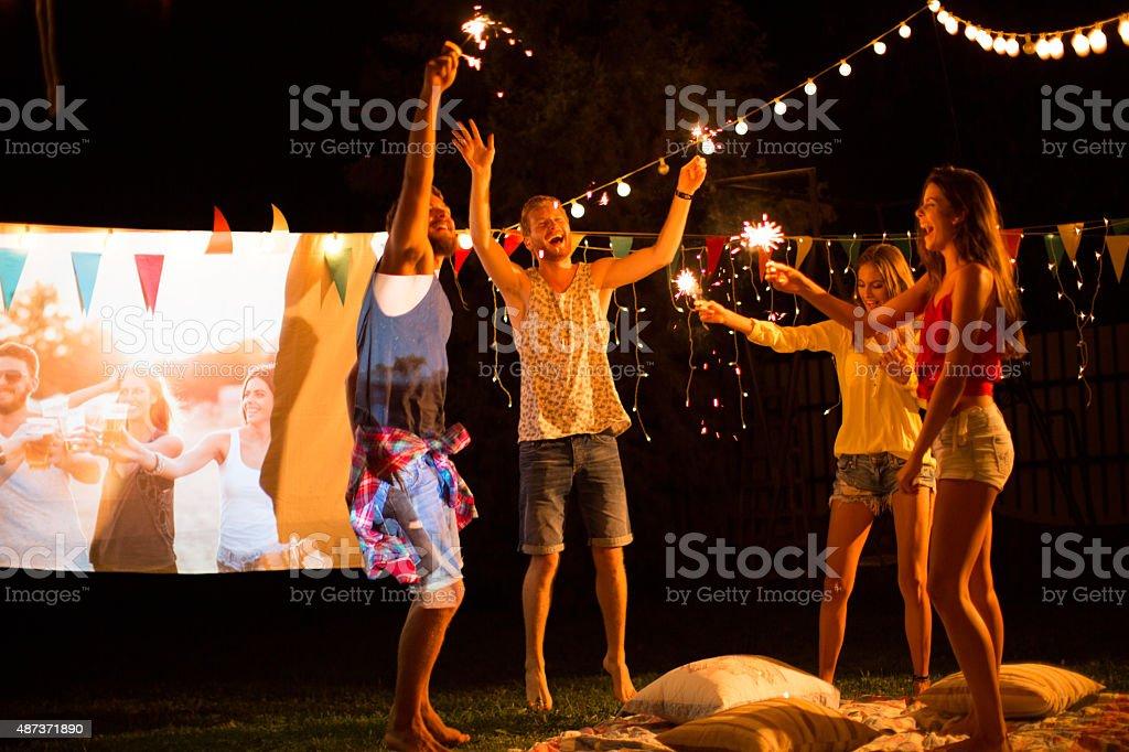Movie night party. stock photo