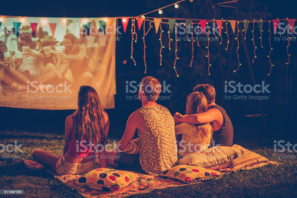 Movie night with friends stock photo