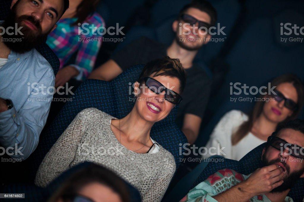 Movie night with friends stock photo