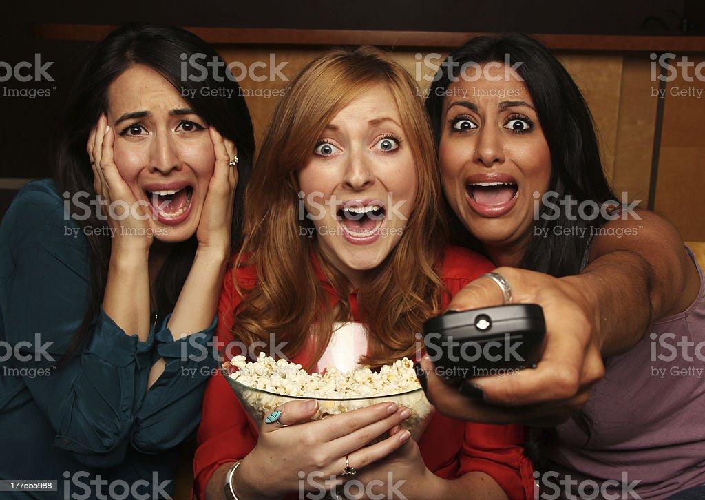 Movie Night with Girlfriends stock photo