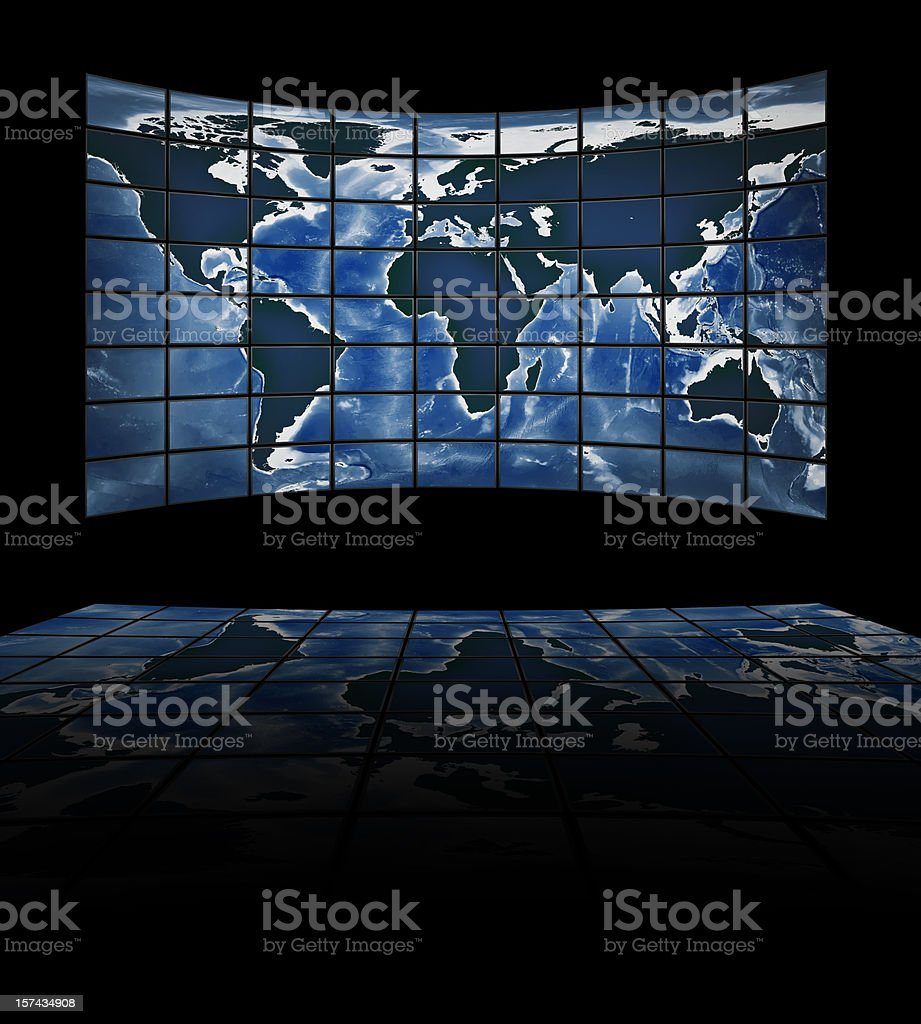 TV movie panels showing the continents royalty-free stock photo