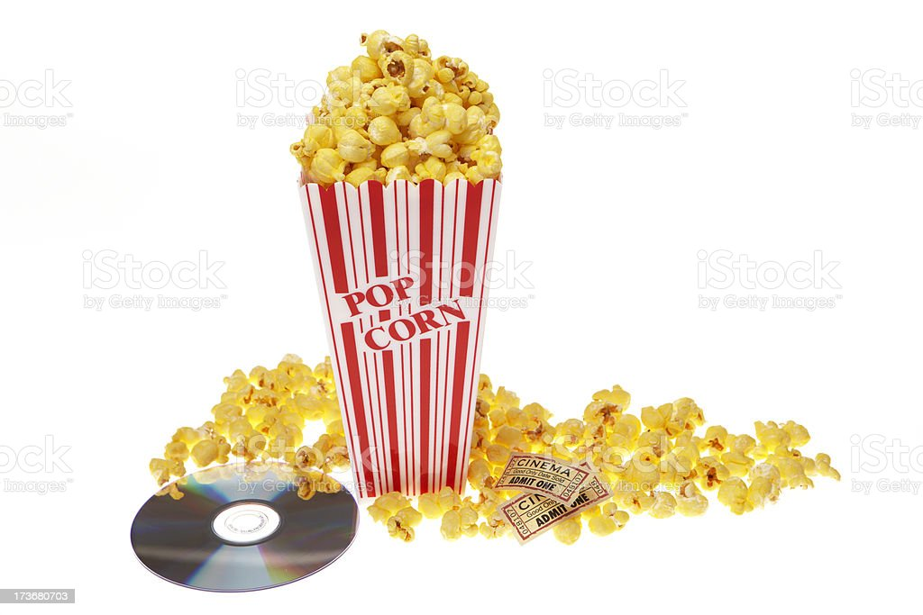 Movie pop corn wide angle with dvd and tickets royalty-free stock photo