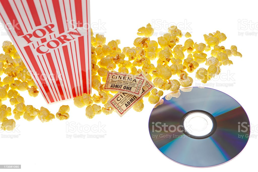 Movie pop corn wide angle with dvd royalty-free stock photo