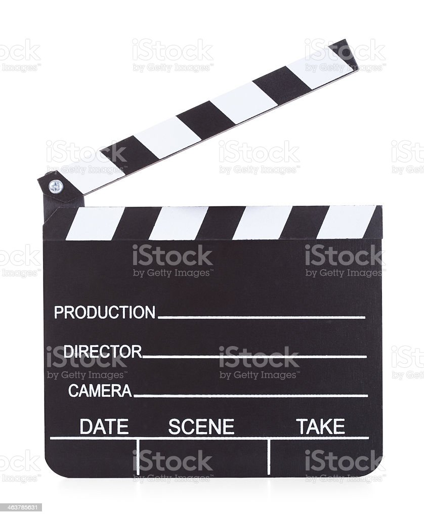 Movie Production Clapper Board On White Background stock photo