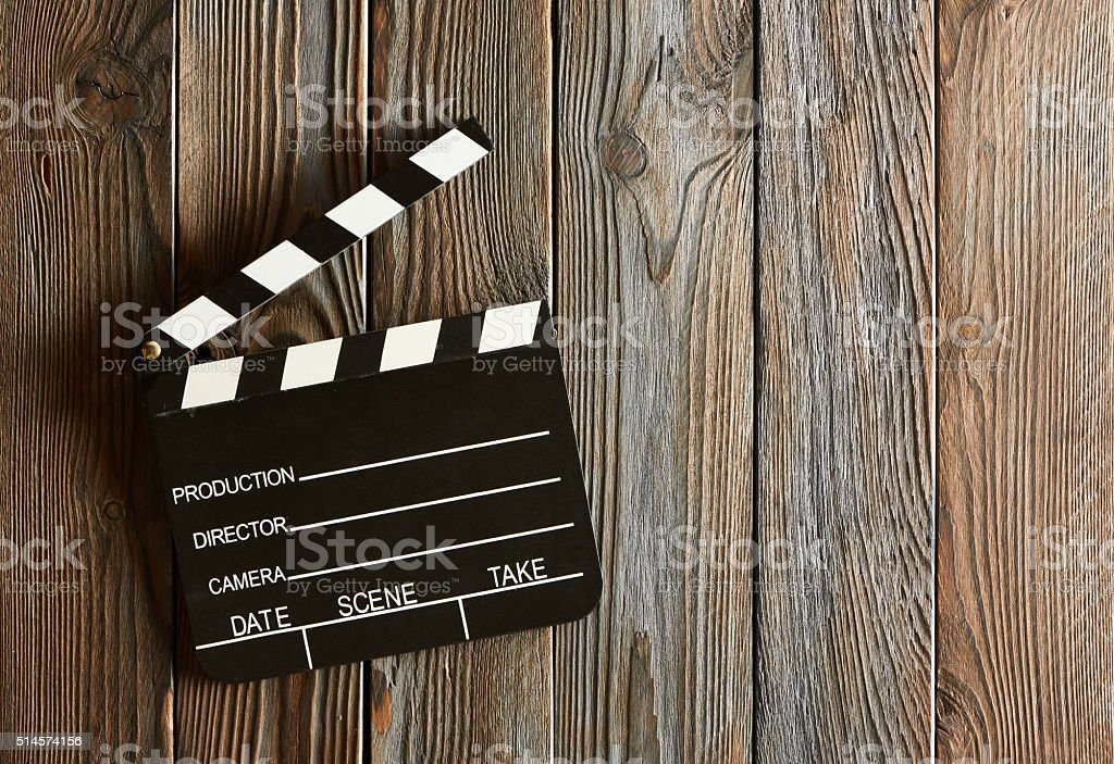 Movie production clapper board stock photo
