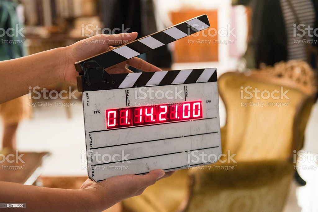Movie production digital clapper board stock photo