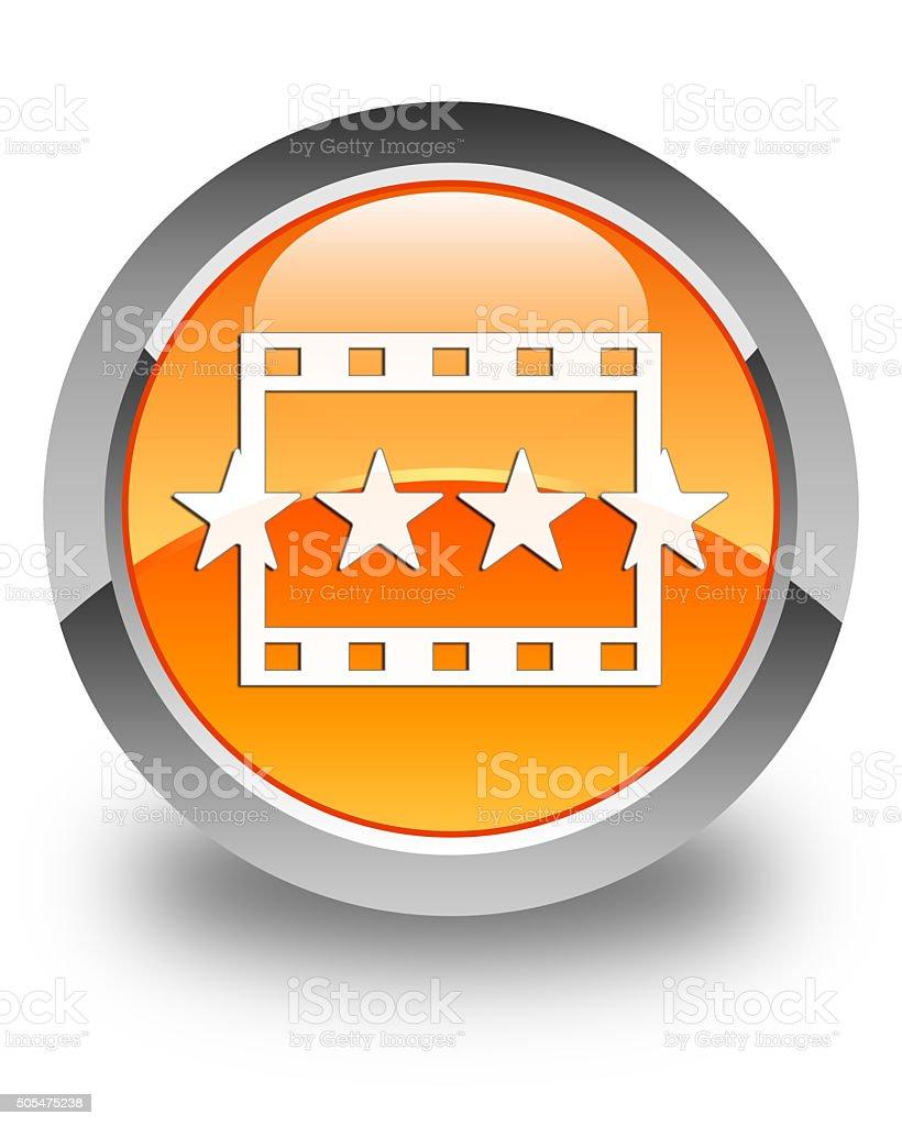 Movie reviews icon glossy orange round button stock photo