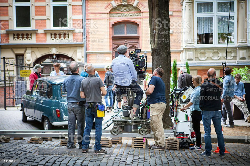 Movie set on a street in Wiesbaden stock photo