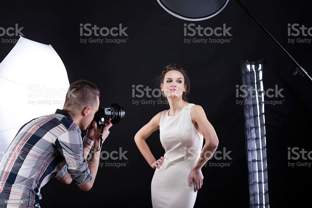 Movie star during photoshooting stock photo