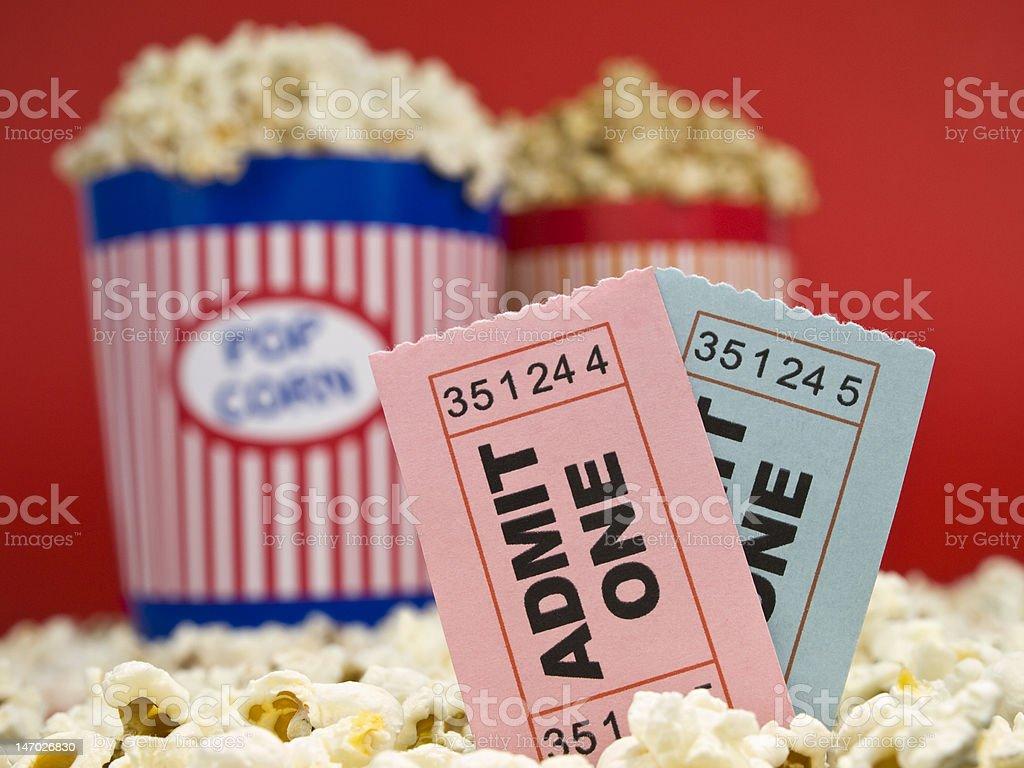 Movie stubs and popcorn royalty-free stock photo
