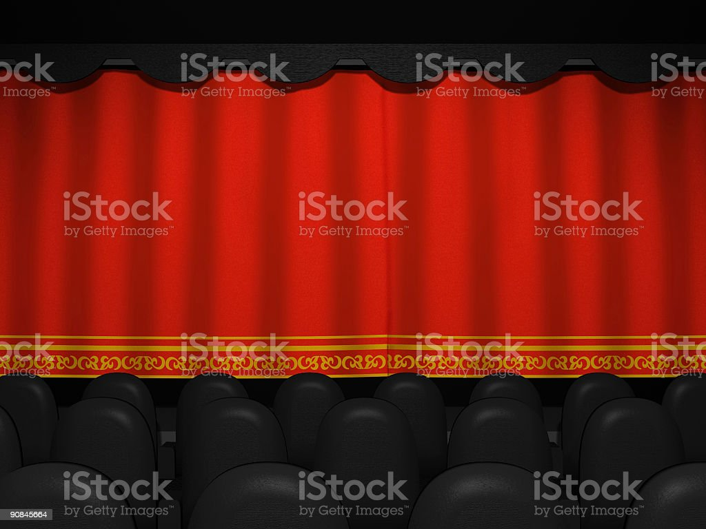 Movie Theater Closed Curtains stock photo