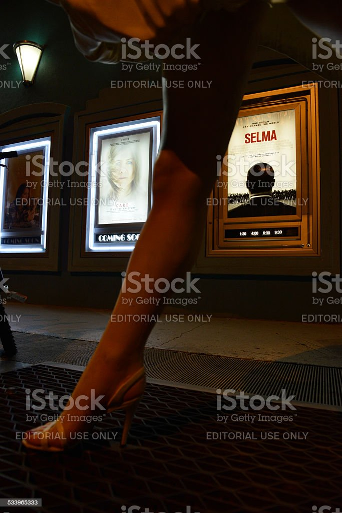 Movie theater exterior at night in Key West, Florida stock photo