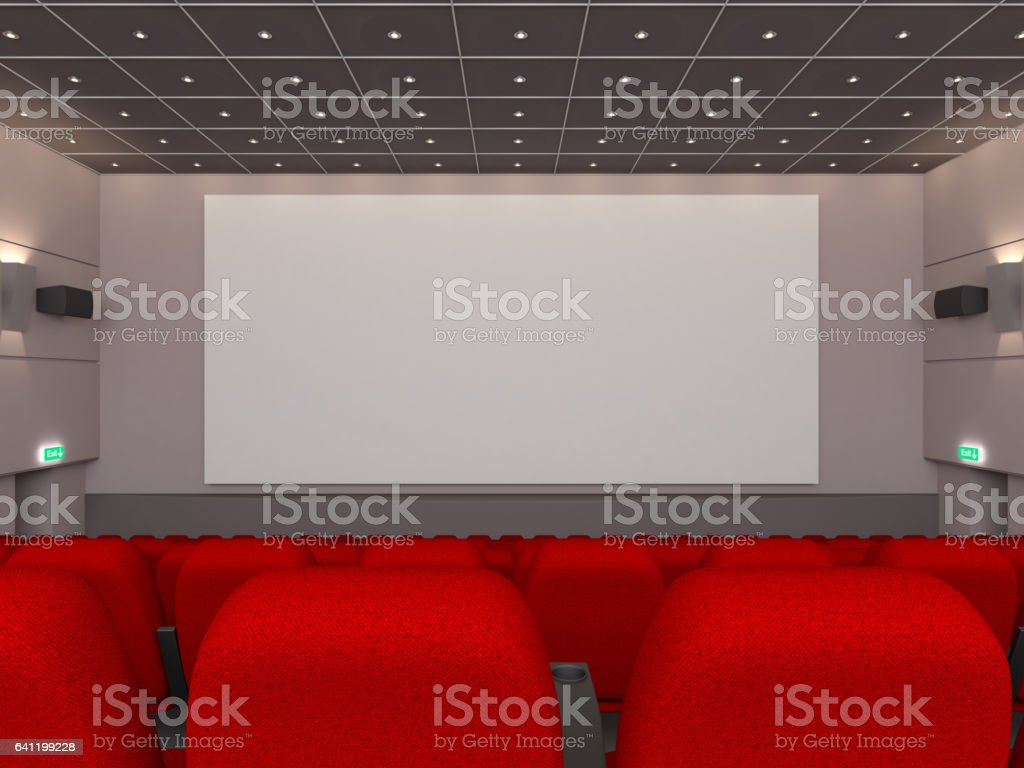 Movie theatre with  blank screen stock photo