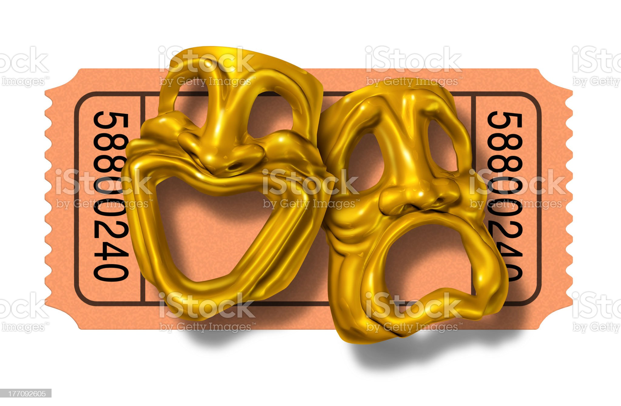 Movie ticket stub with gold comedy and tragedy masks royalty-free stock photo