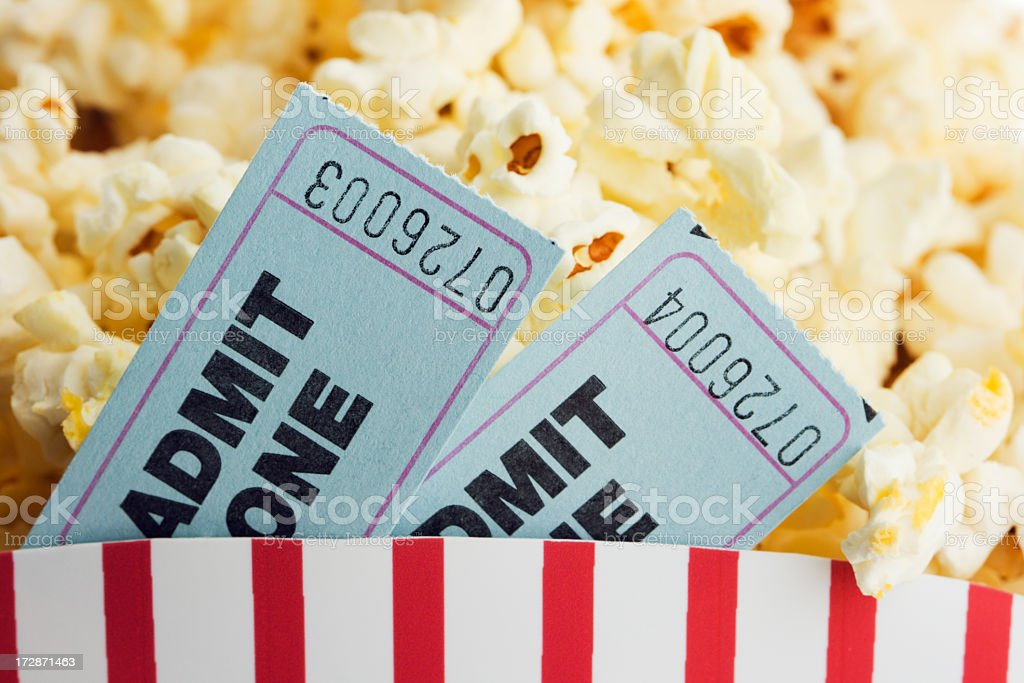 Movie Ticket Stubs and Popcorn Snack for Film Entertainment Event royalty-free stock photo